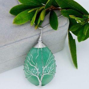 Tree of Life Aqua Green Drop Pendant Necklace